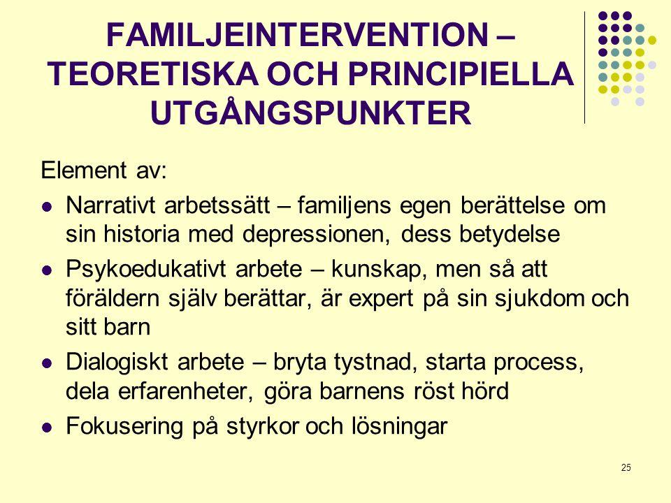 FAMILJEINTERVENTION –TEORETISKA OCH PRINCIPIELLA UTGÅNGSPUNKTER