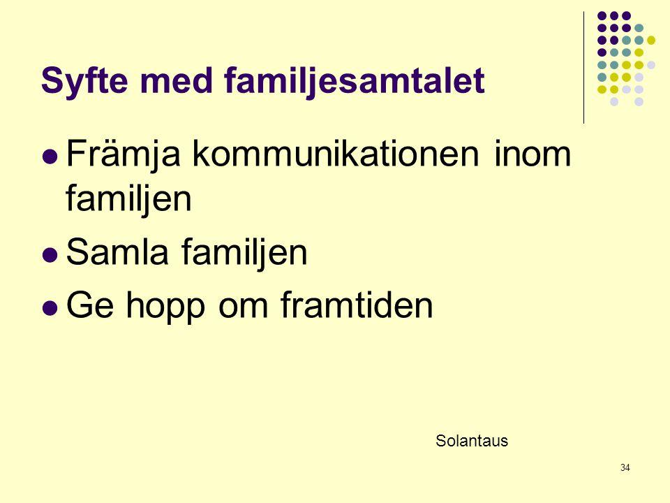 Syfte med familjesamtalet