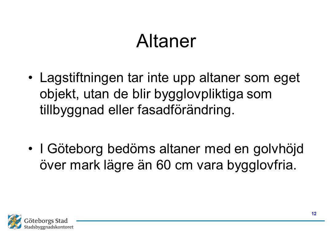Altaner Lagstiftningen tar inte upp altaner som eget objekt, utan de blir bygglovpliktiga som tillbyggnad eller fasadförändring.
