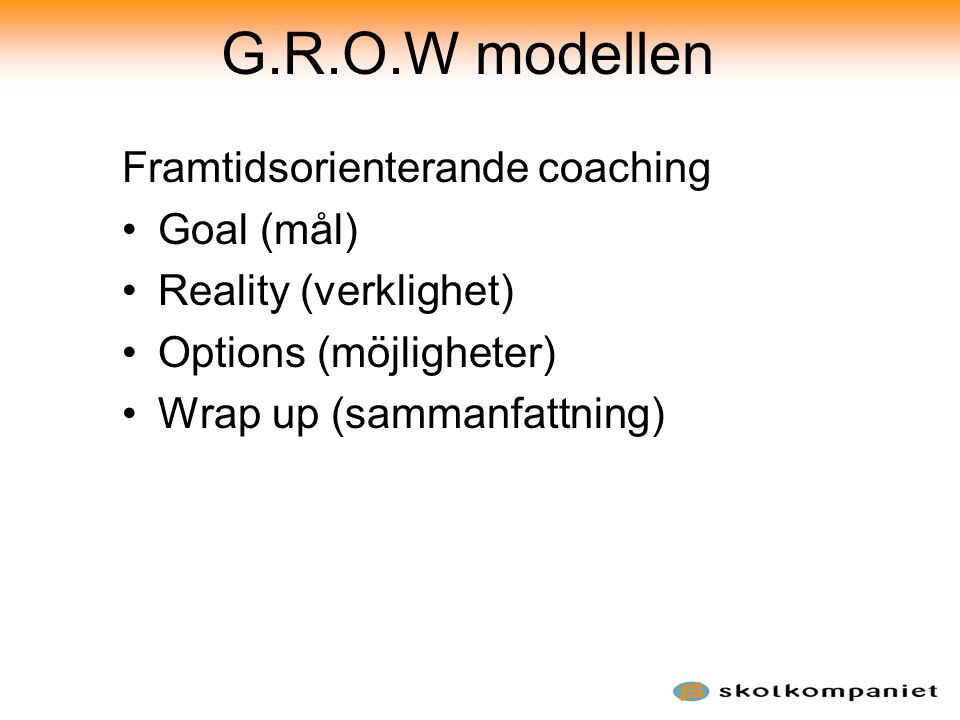 G.R.O.W modellen Framtidsorienterande coaching Goal (mål)