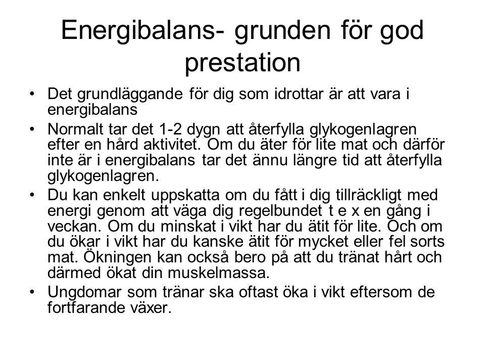 Energibalans- grunden för god prestation