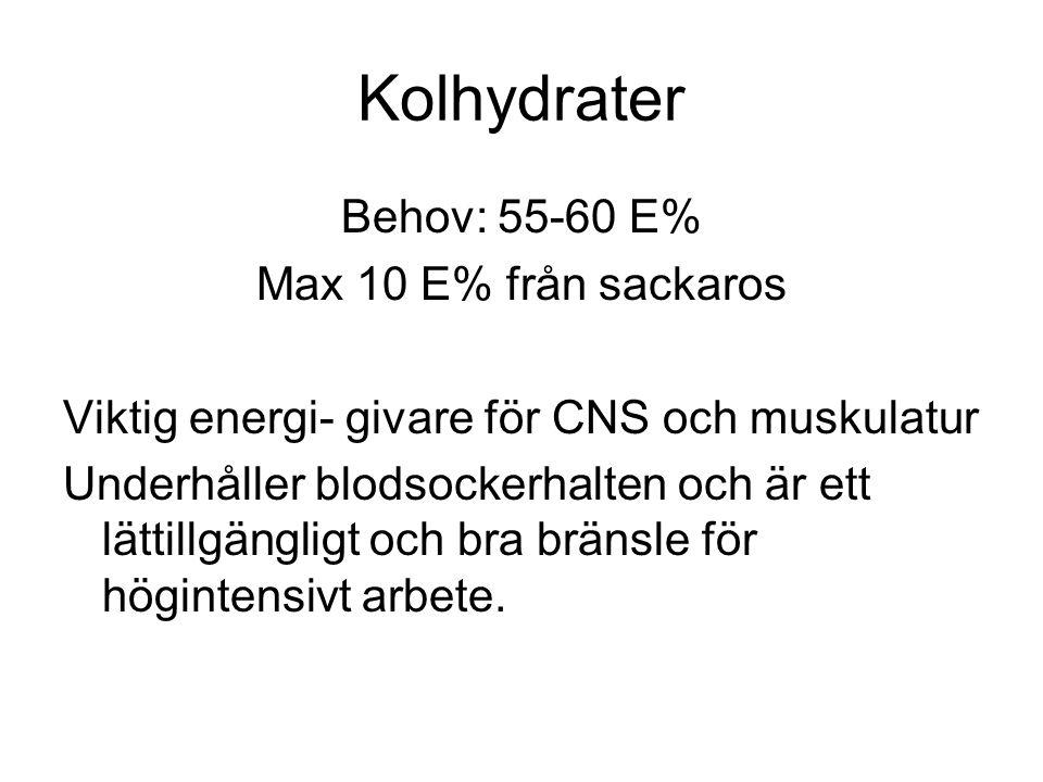 Kolhydrater Behov: 55-60 E% Max 10 E% från sackaros