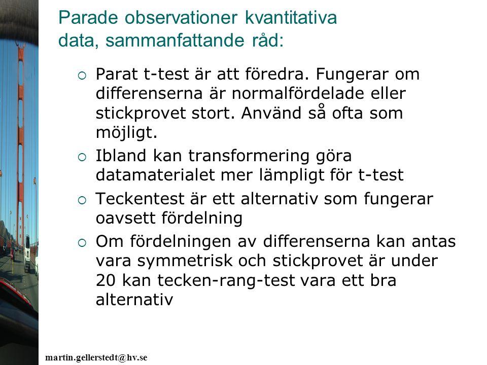 Parade observationer kvantitativa data, sammanfattande råd: