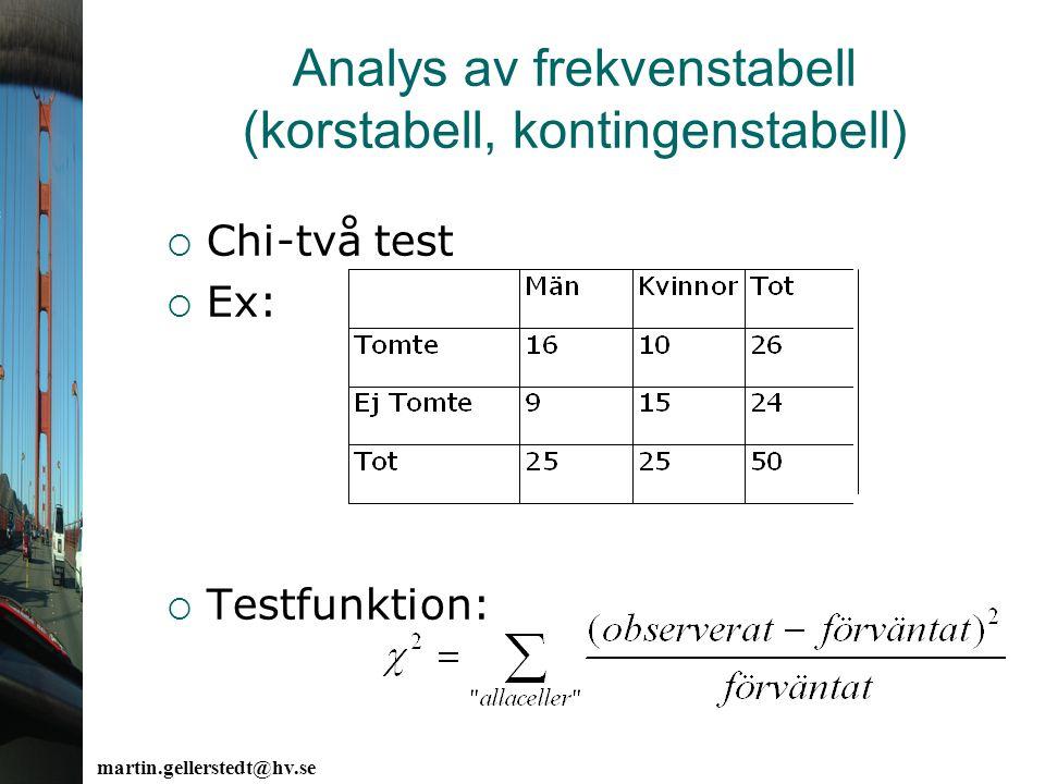 Analys av frekvenstabell (korstabell, kontingenstabell)