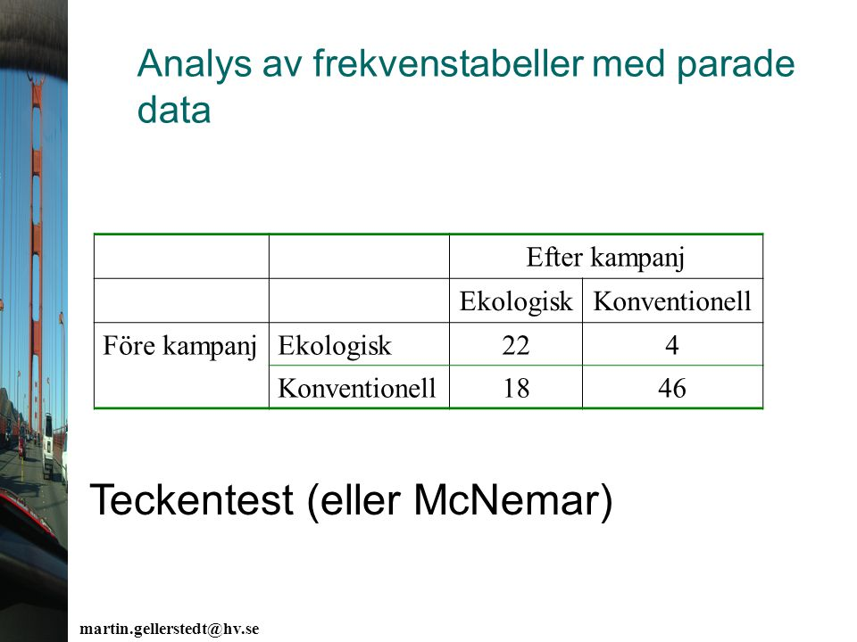 Analys av frekvenstabeller med parade data