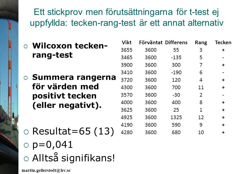 Resultat=65 (13) p=0,041 Alltså signifikans!