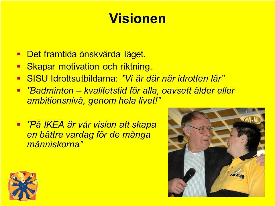 Visionen Det framtida önskvärda läget. Skapar motivation och riktning.