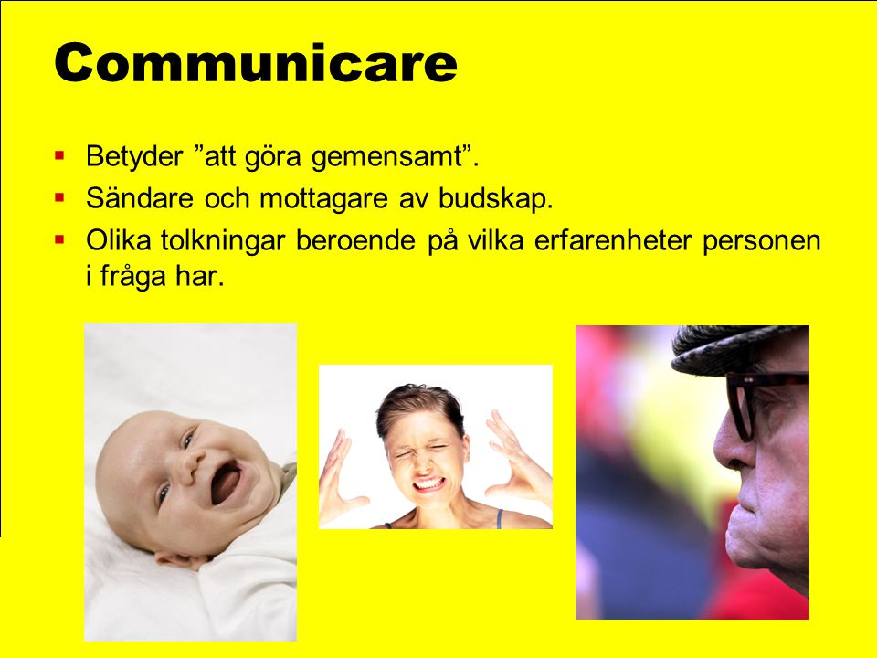 Communicare Betyder att göra gemensamt .
