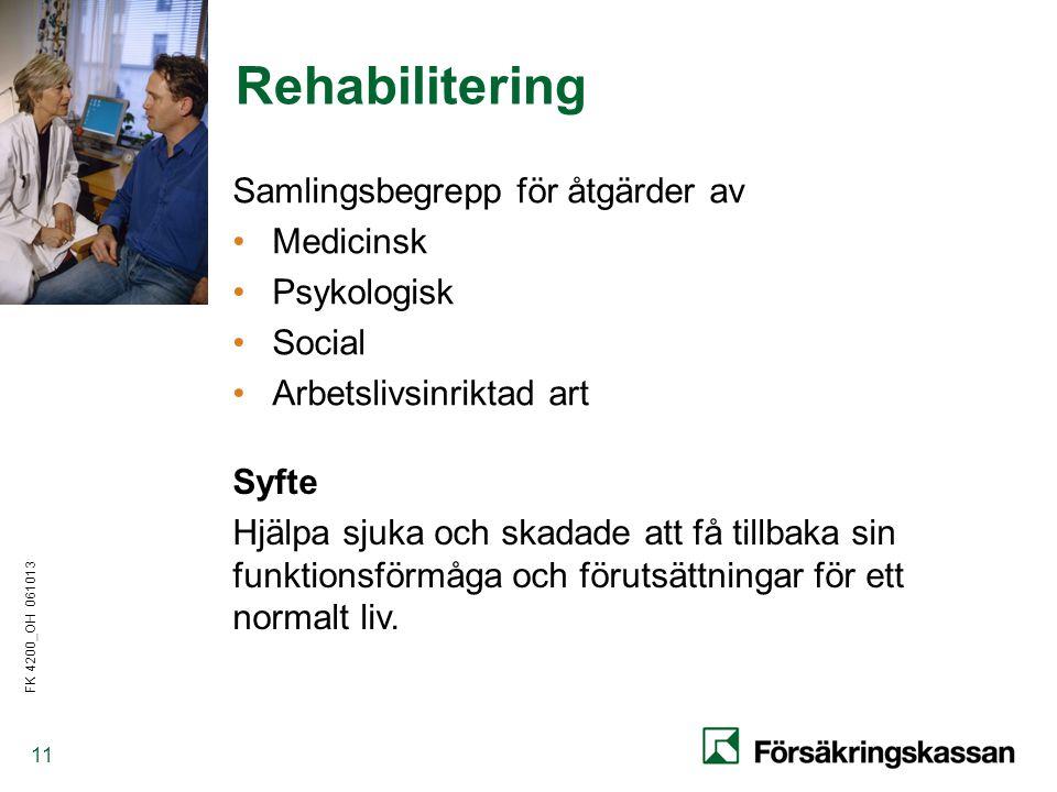 Rehabilitering Samlingsbegrepp för åtgärder av Medicinsk Psykologisk