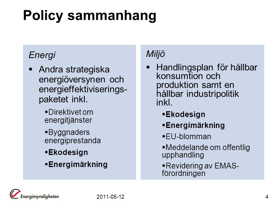 Policy sammanhang Energi
