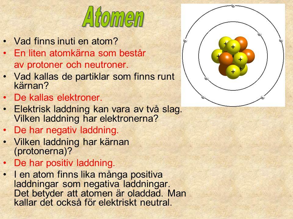 Atomen Vad finns inuti en atom En liten atomkärna som består
