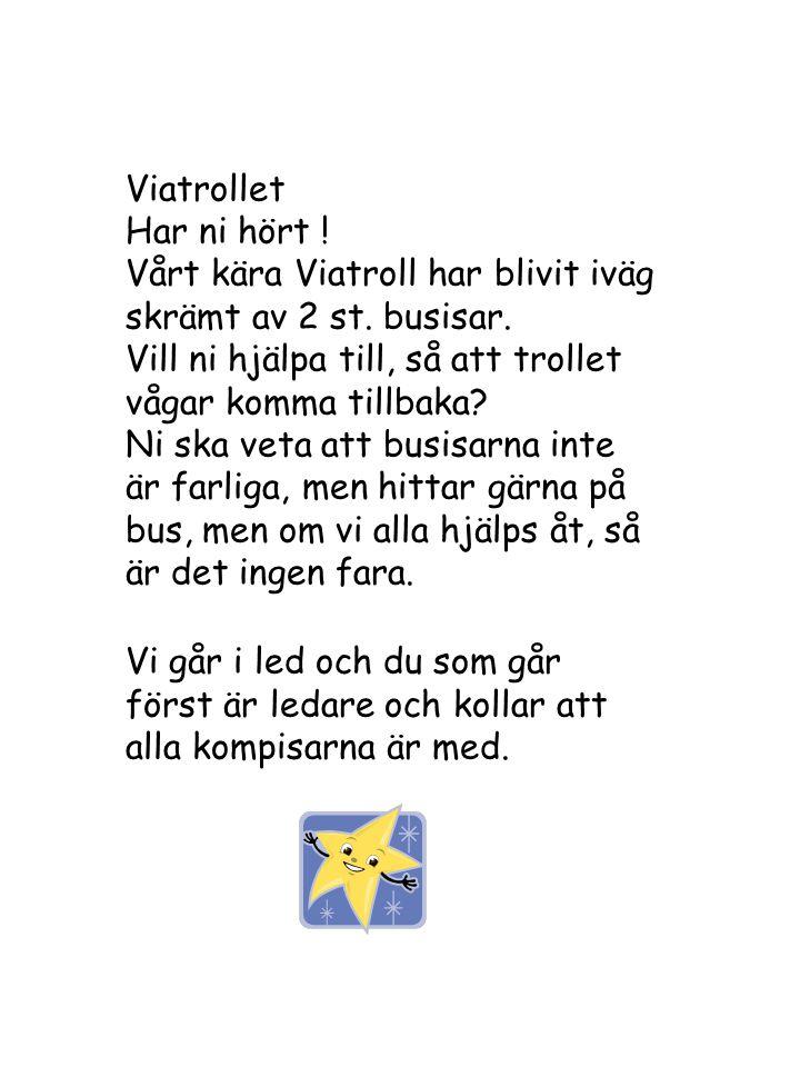 Viatrollet Har ni hört ! Vårt kära Viatroll har blivit iväg skrämt av 2 st. busisar. Vill ni hjälpa till, så att trollet vågar komma tillbaka
