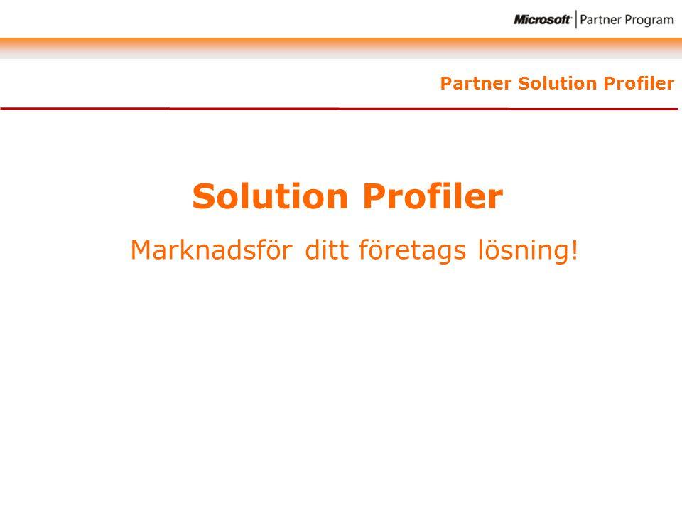 Solution Profiler Marknadsför ditt företags lösning!