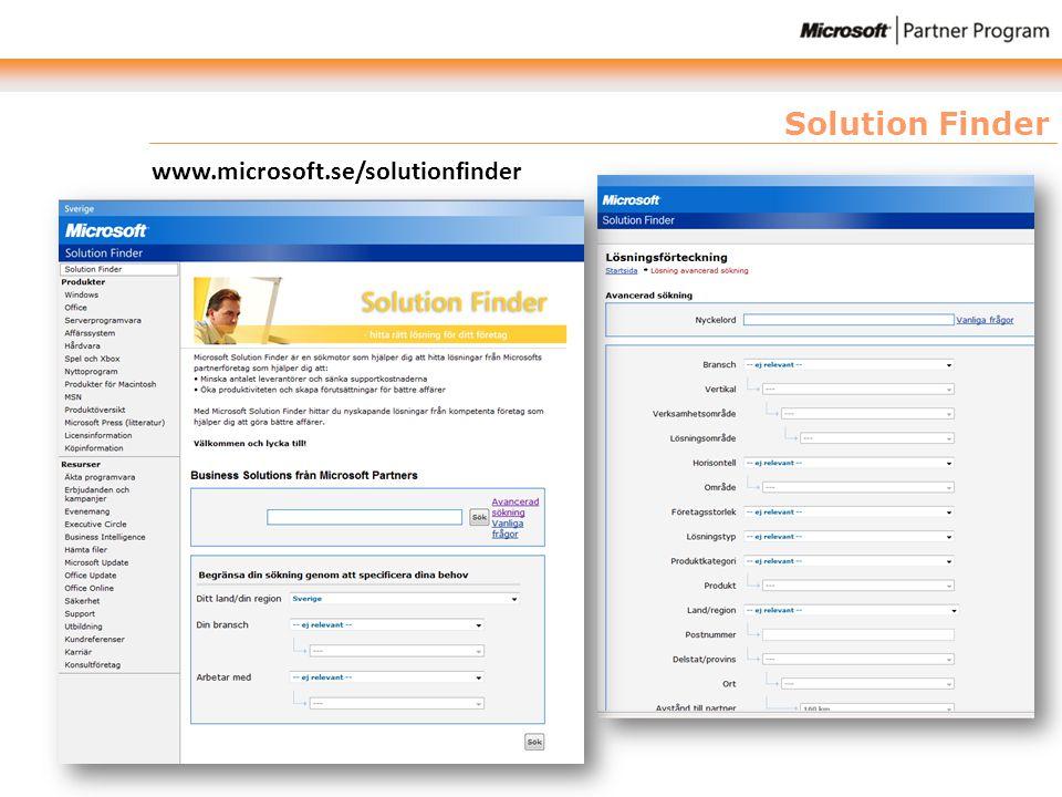 Solution Finder www.microsoft.se/solutionfinder