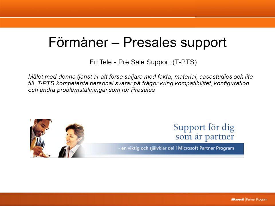 Förmåner – Presales support