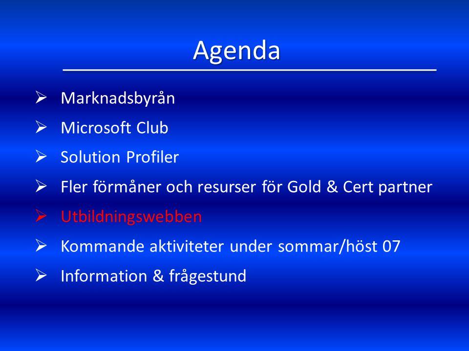 Agenda Marknadsbyrån Microsoft Club Solution Profiler