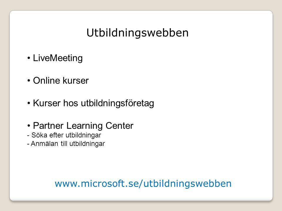 Utbildningswebben LiveMeeting Online kurser