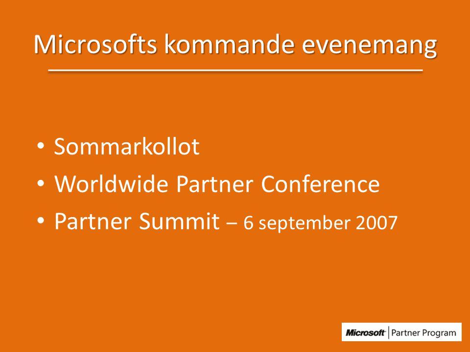 Microsofts kommande evenemang