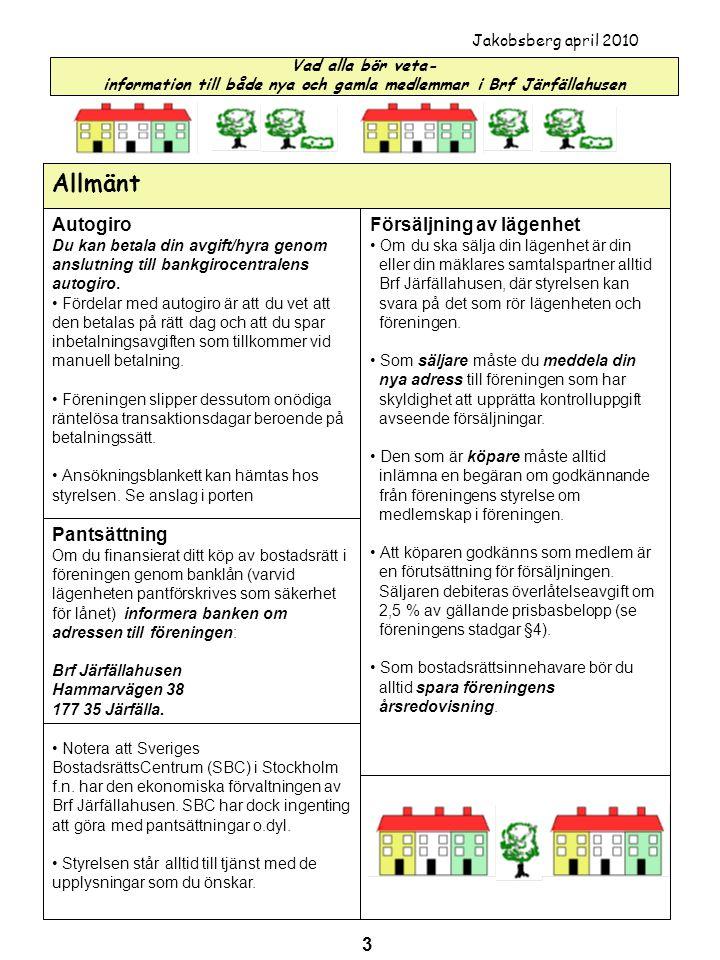 Allmänt Autogiro Försäljning av lägenhet Pantsättning 3