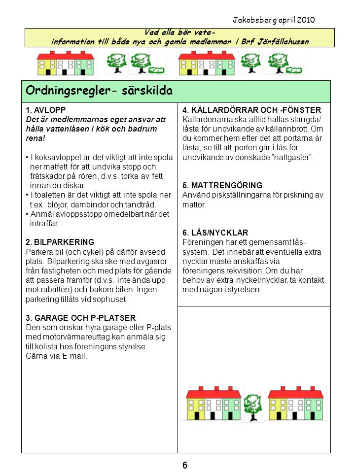 Ordningsregler- särskilda
