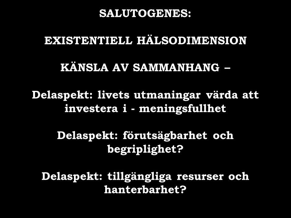 EXISTENTIELL HÄLSODIMENSION KÄNSLA AV SAMMANHANG –