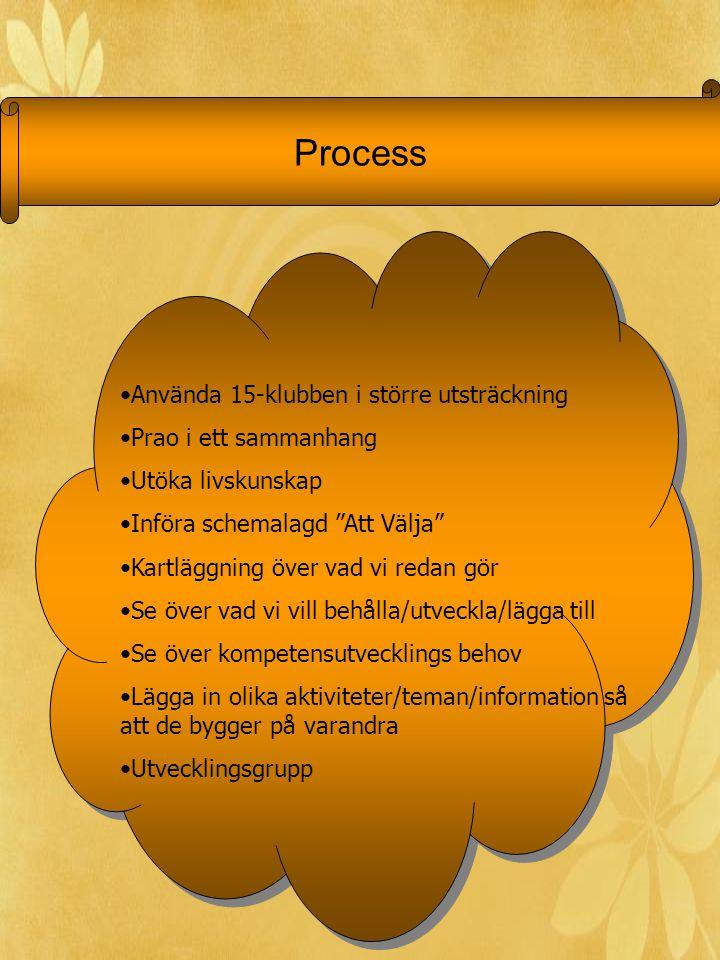 Process Använda 15-klubben i större utsträckning Prao i ett sammanhang