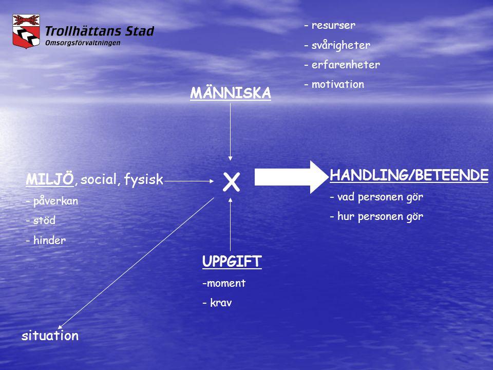 MÄNNISKA X HANDLING/BETEENDE MILJÖ, social, fysisk UPPGIFT situation