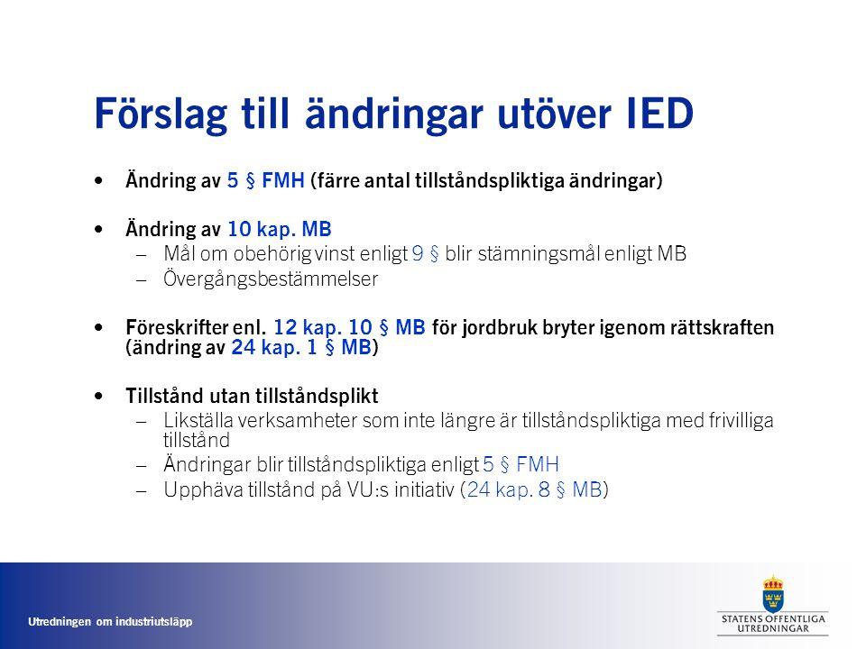 Förslag till ändringar utöver IED