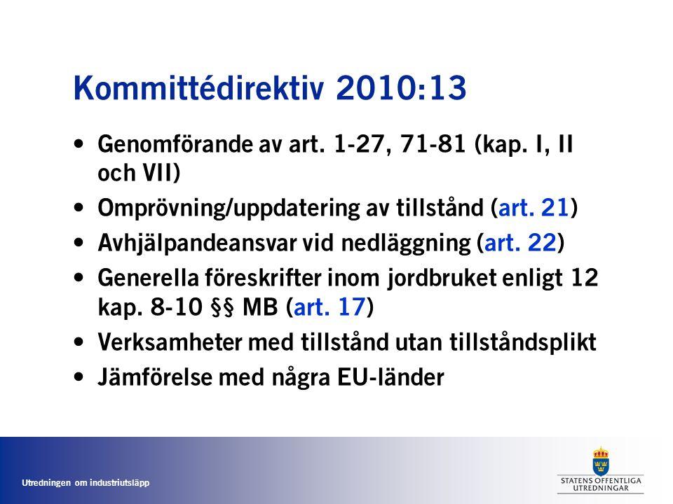 Kommittédirektiv 2010:13 Genomförande av art. 1-27, 71-81 (kap. I, II och VII) Omprövning/uppdatering av tillstånd (art. 21)