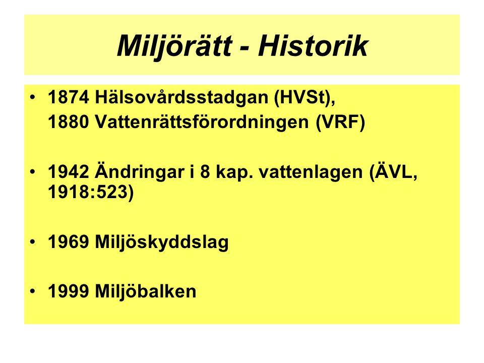 Miljörätt - Historik 1874 Hälsovårdsstadgan (HVSt),