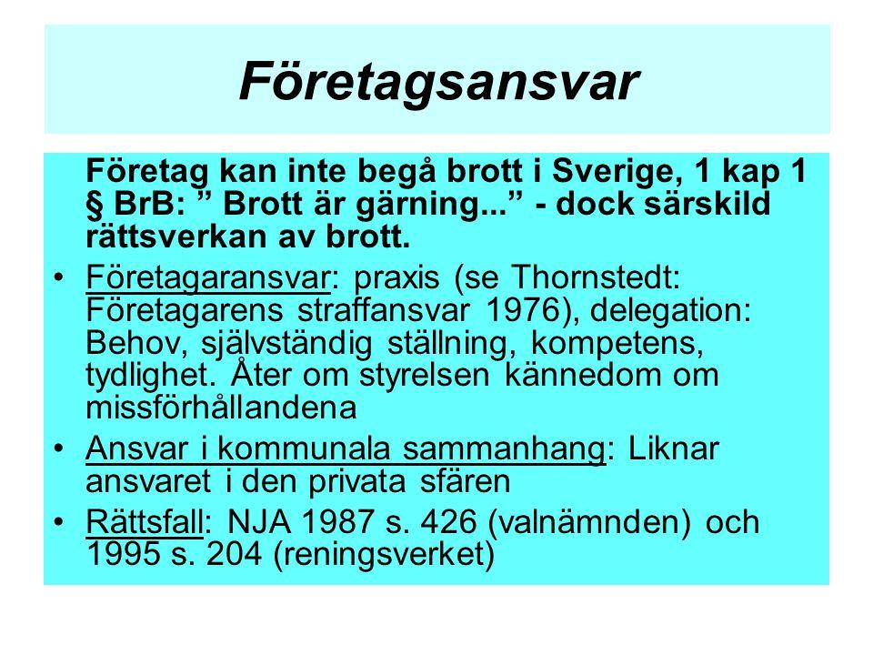 Företagsansvar Företag kan inte begå brott i Sverige, 1 kap 1 § BrB: Brott är gärning... - dock särskild rättsverkan av brott.