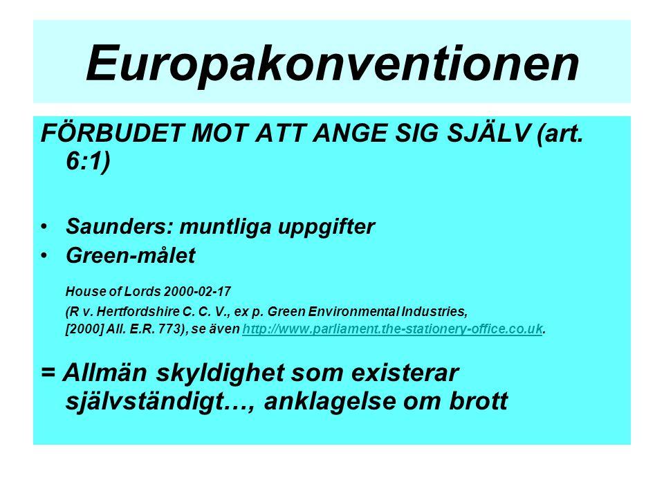 Europakonventionen FÖRBUDET MOT ATT ANGE SIG SJÄLV (art. 6:1)