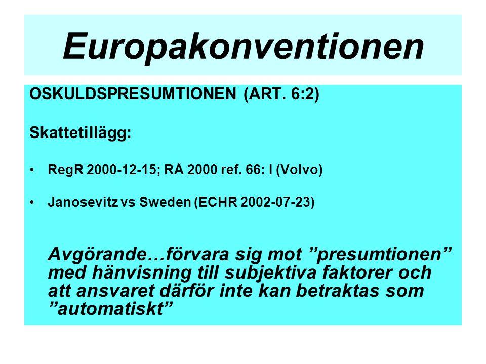 Europakonventionen OSKULDSPRESUMTIONEN (ART. 6:2) Skattetillägg: