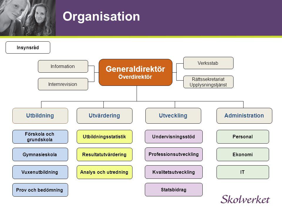 Organisation Generaldirektör Överdirektör Utveckling Utvärdering