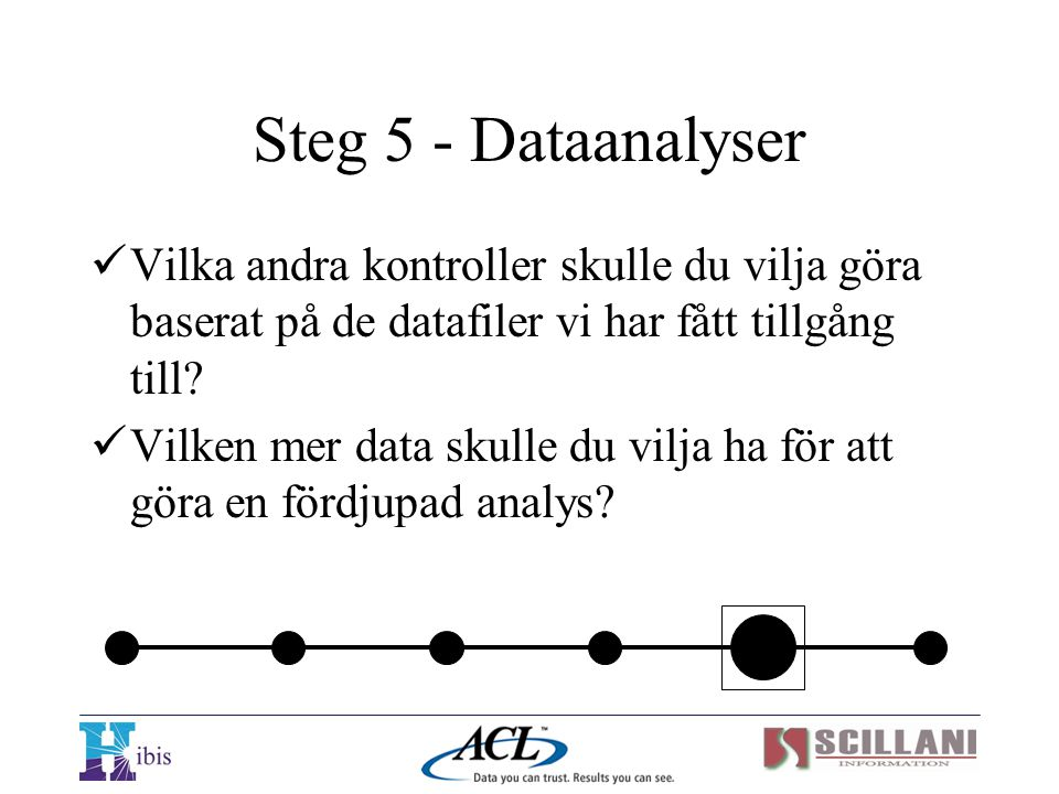 Steg 5 - Dataanalyser Vilka andra kontroller skulle du vilja göra baserat på de datafiler vi har fått tillgång till