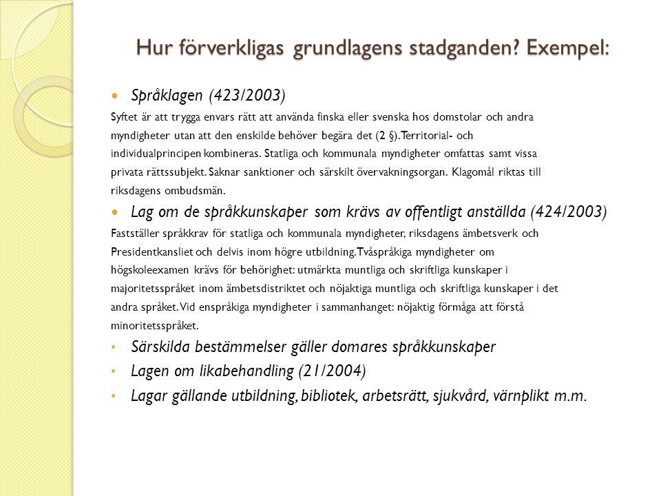 Hur förverkligas grundlagens stadganden Exempel: