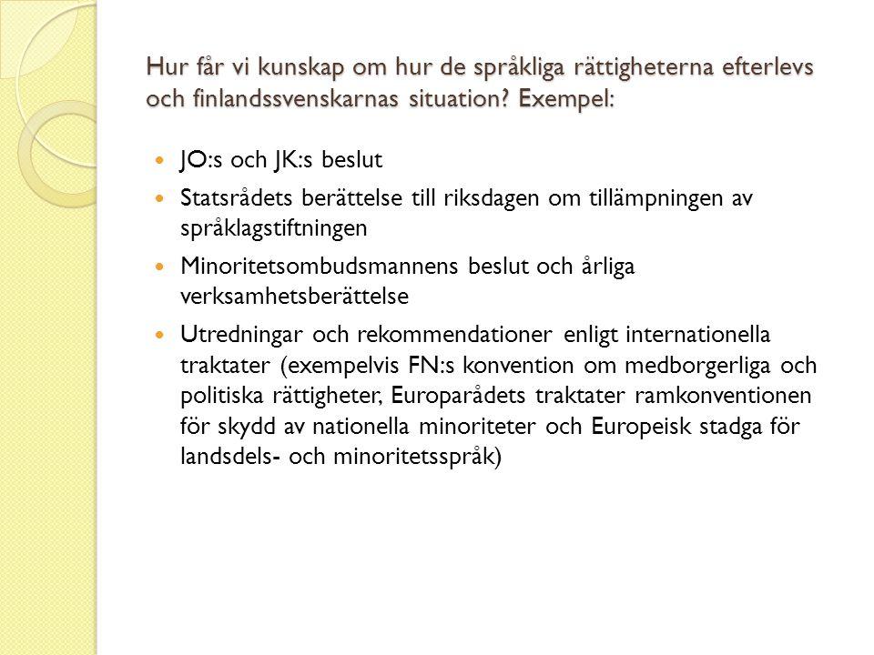 Hur får vi kunskap om hur de språkliga rättigheterna efterlevs och finlandssvenskarnas situation Exempel: