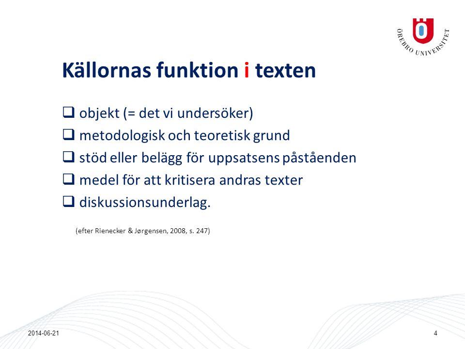Källornas funktion i texten