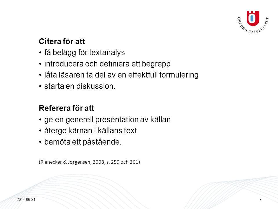 få belägg för textanalys introducera och definiera ett begrepp