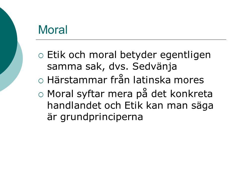 Moral Etik och moral betyder egentligen samma sak, dvs. Sedvänja