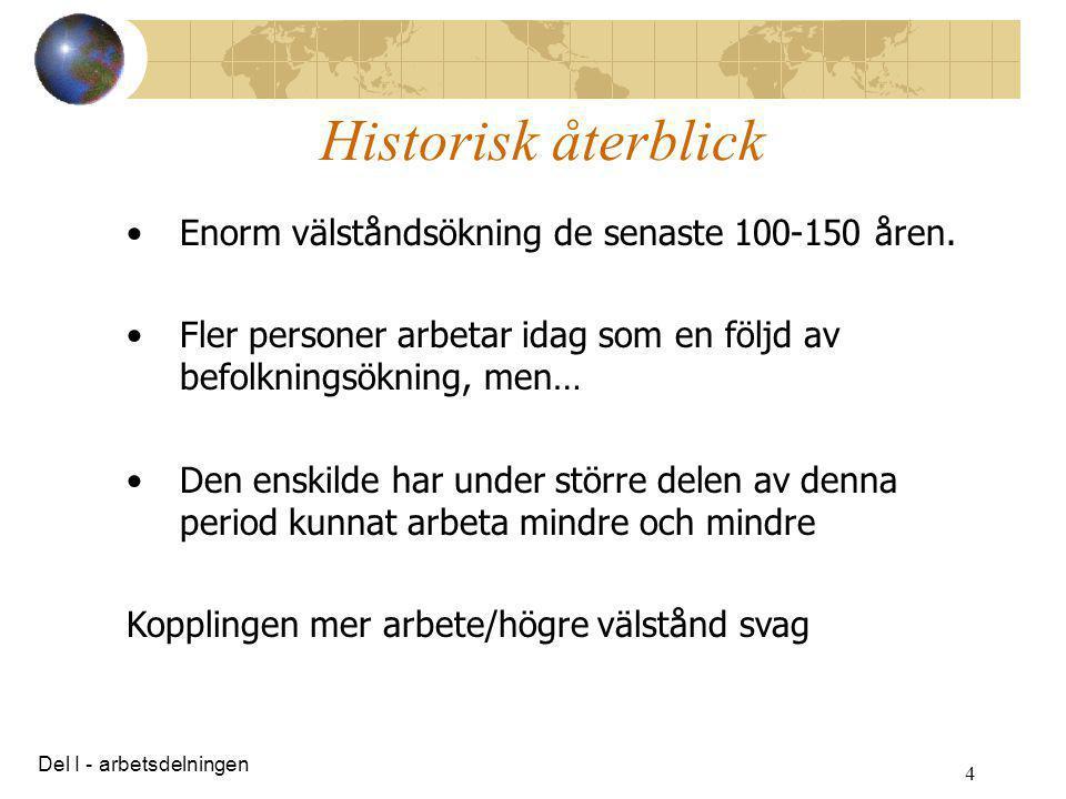 Historisk återblick Enorm välståndsökning de senaste 100-150 åren.