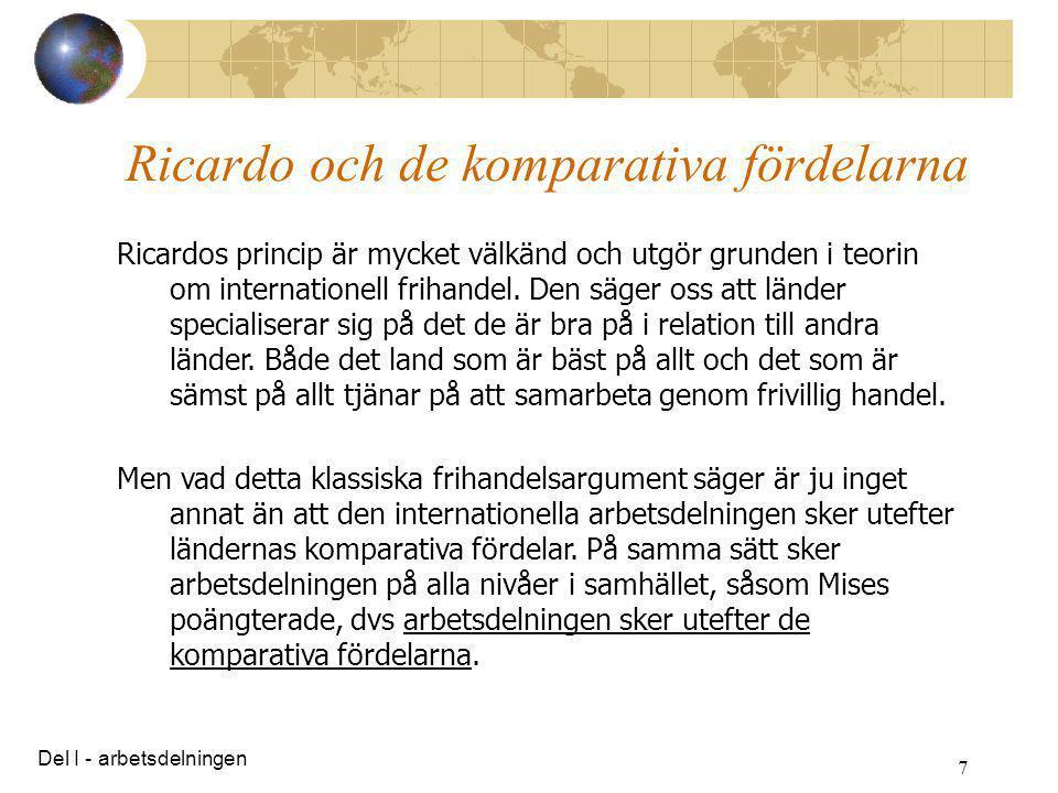 Ricardo och de komparativa fördelarna