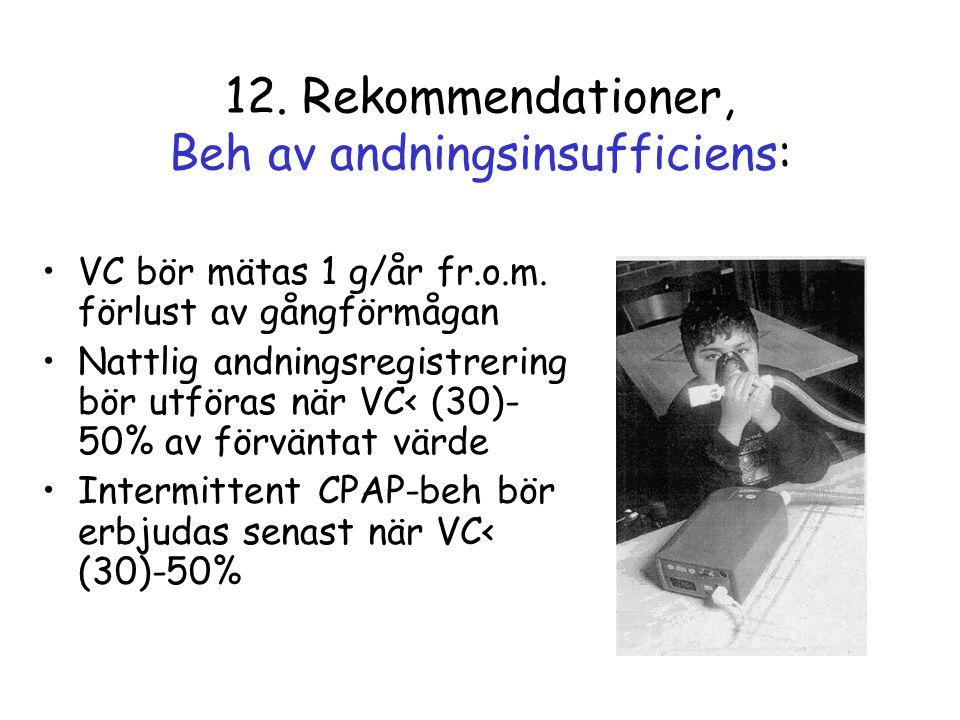 12. Rekommendationer, Beh av andningsinsufficiens: