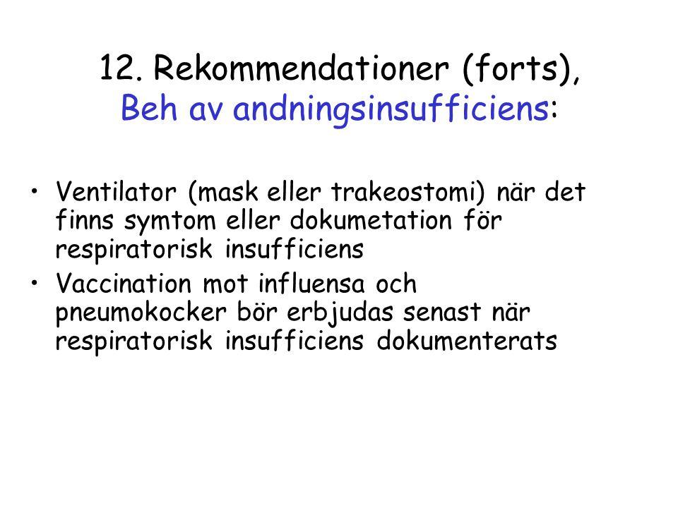 12. Rekommendationer (forts), Beh av andningsinsufficiens: