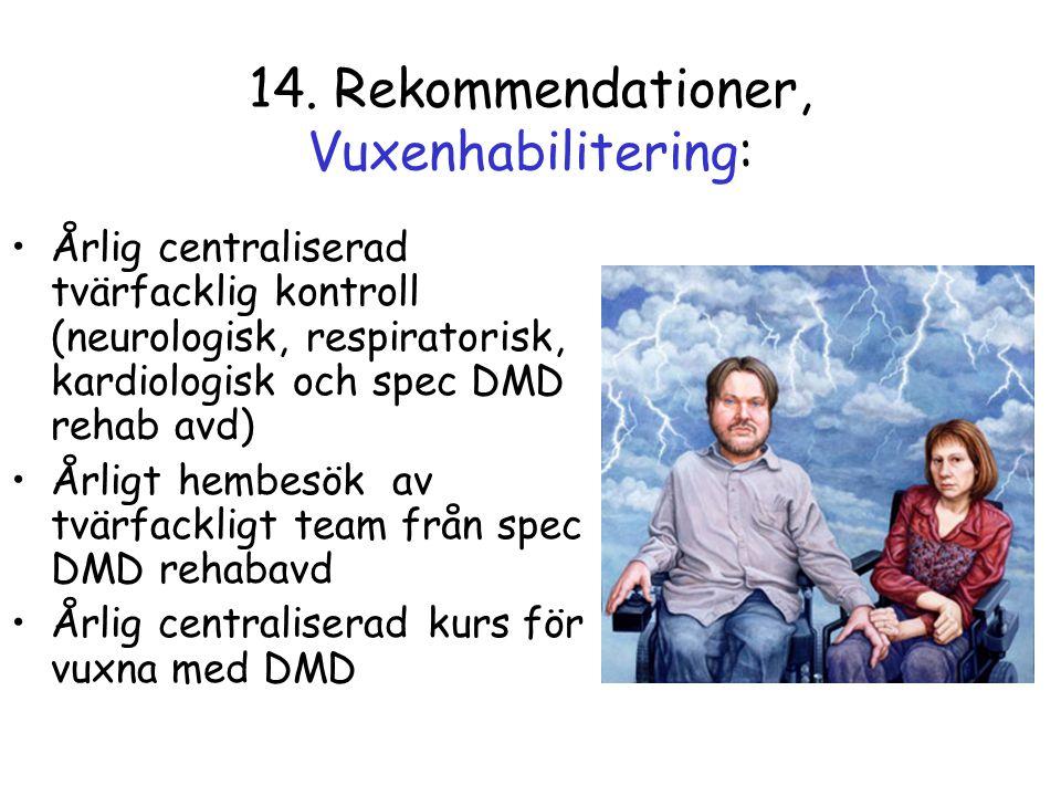 14. Rekommendationer, Vuxenhabilitering: