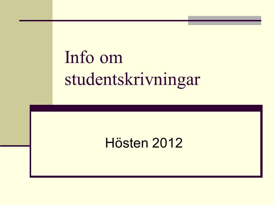 Info om studentskrivningar