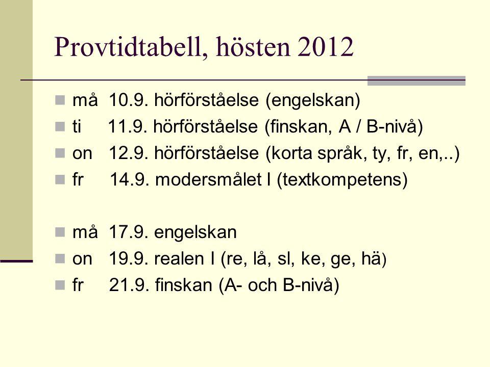 Provtidtabell, hösten 2012 må 10.9. hörförståelse (engelskan)