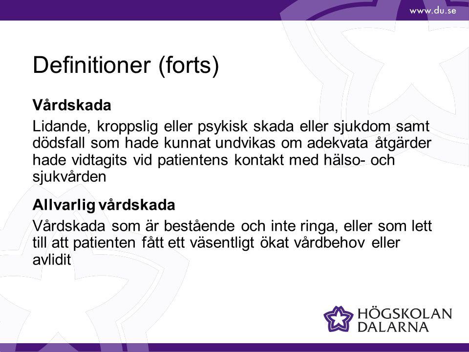 Definitioner (forts) Vårdskada