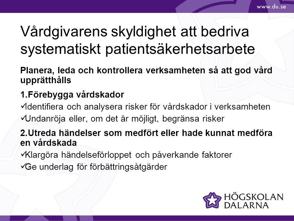 Vårdgivarens skyldighet att bedriva systematiskt patientsäkerhetsarbete