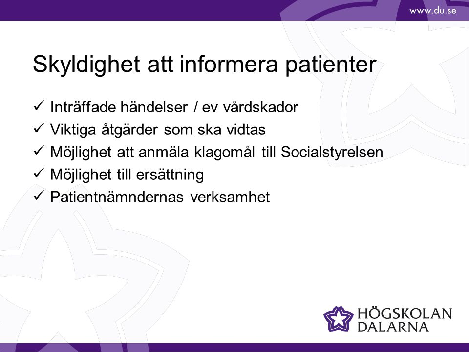 Skyldighet att informera patienter